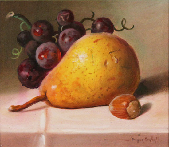 Raymond Campbell, Original oil painting on panel, Fruit to Start  No frame image. Click to enlarge