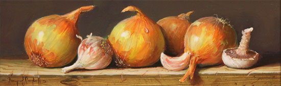 Raymond Campbell, Original oil painting on panel, Onions