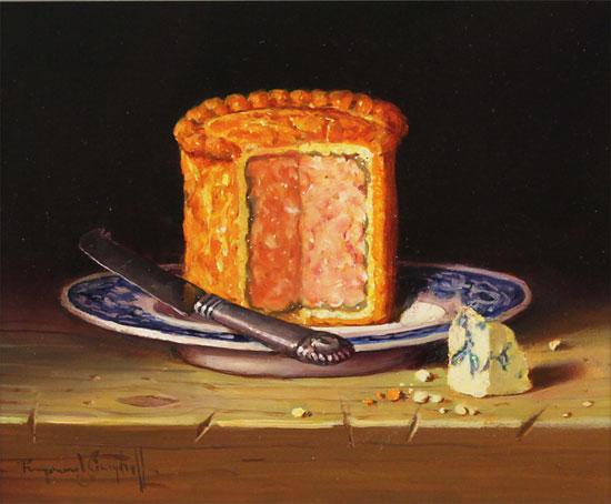 Raymond Campbell, Original oil painting on panel, Pork Pie