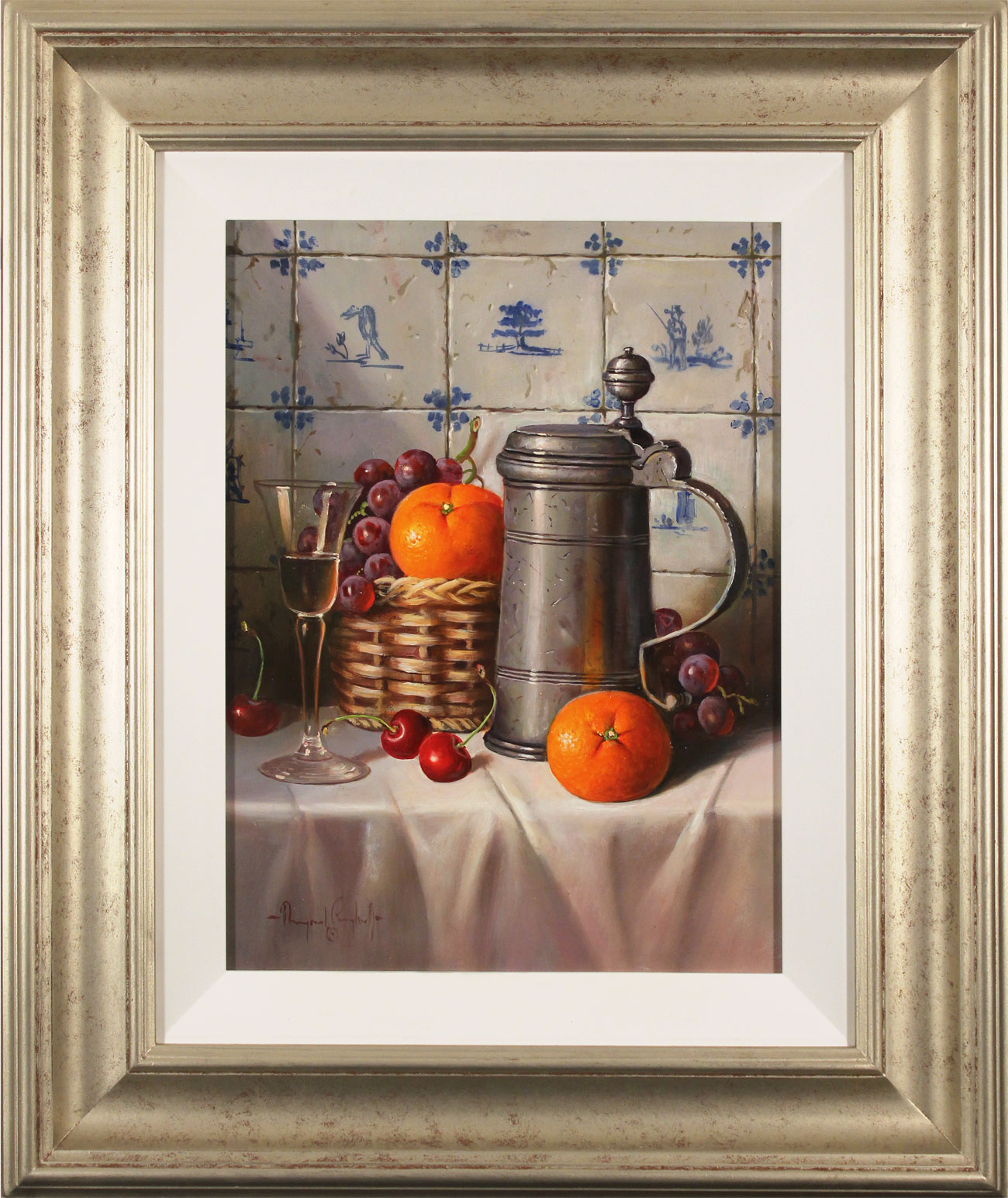 Raymond Campbell, Original oil painting on panel, Pewter Tankard. Click to enlarge