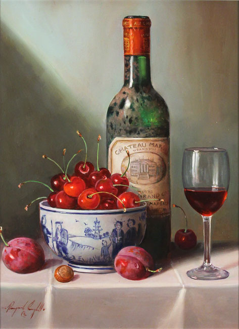 Raymond Campbell, Original oil painting on panel, Notes of Cherry and Plum Without frame image. Click to enlarge