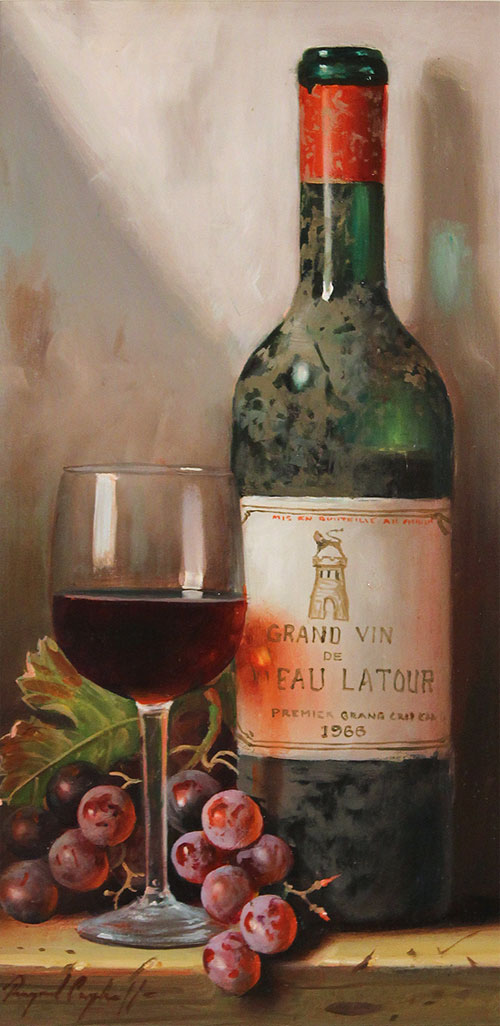 Raymond Campbell, Original oil painting on panel, Chateau Latour, 1966 Without frame image. Click to enlarge
