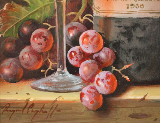 Raymond Campbell, Original oil painting on panel, Chateau Latour, 1966 Signature image. Click to enlarge