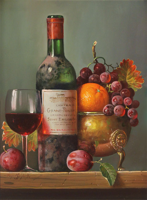 Raymond Campbell, Original oil painting on panel, Chateau Grand Pontet No frame image. Click to enlarge