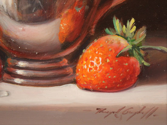 Raymond Campbell, Original oil painting on panel, Strawberries and Silver