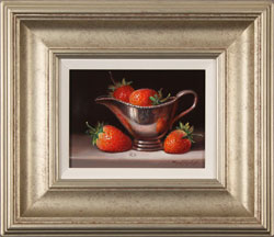 Raymond Campbell, Strawberries and Silver, Original oil painting on panel