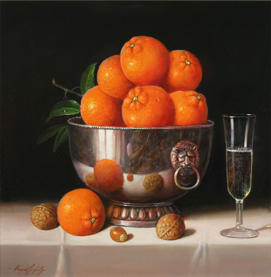 Raymond Campbell, Original oil painting on panel, Bowl of Oranges No frame image. Click to enlarge