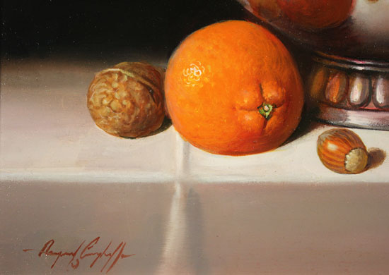 Raymond Campbell, Original oil painting on panel, Bowl of Oranges Signature image. Click to enlarge