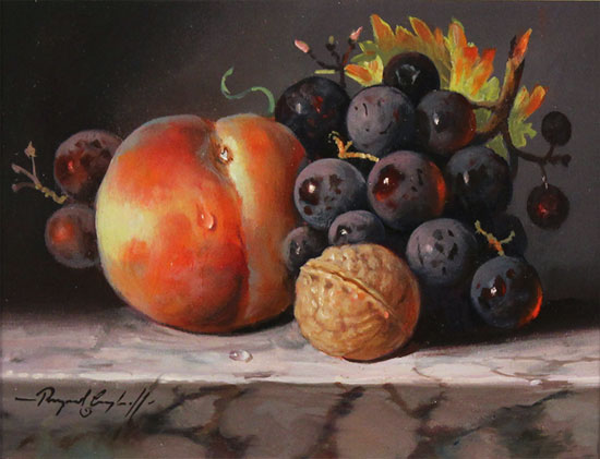Raymond Campbell, Original oil painting on panel, Fruit and Walnut Without frame image. Click to enlarge