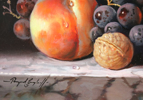 Raymond Campbell, Original oil painting on panel, Fruit and Walnut Signature image. Click to enlarge