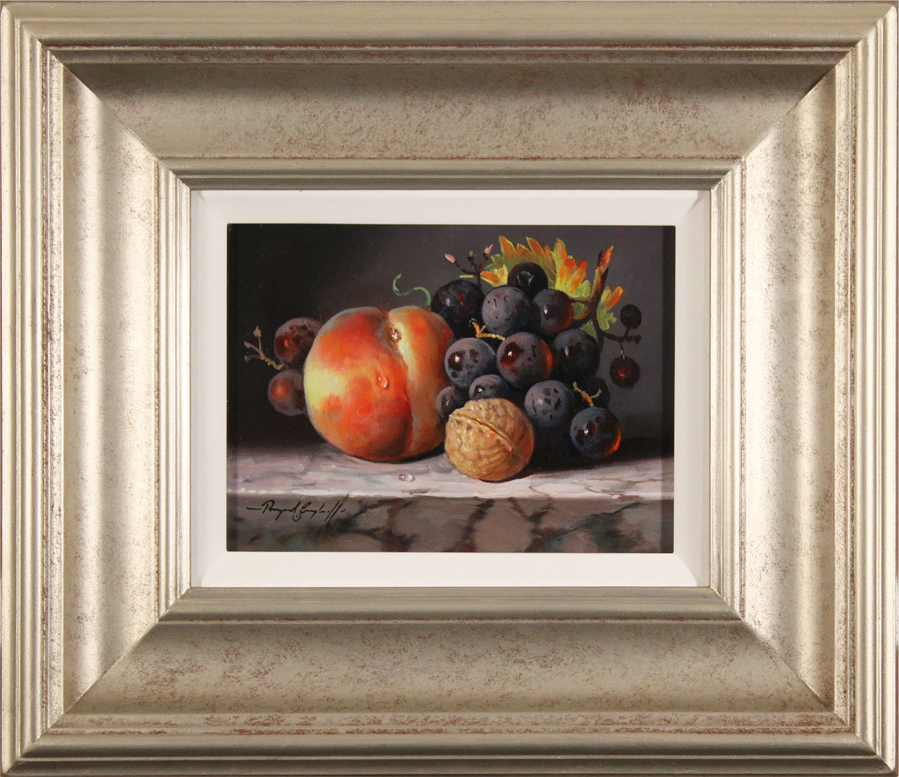 Raymond Campbell, Original oil painting on panel, Fruit and Walnut. Click to enlarge