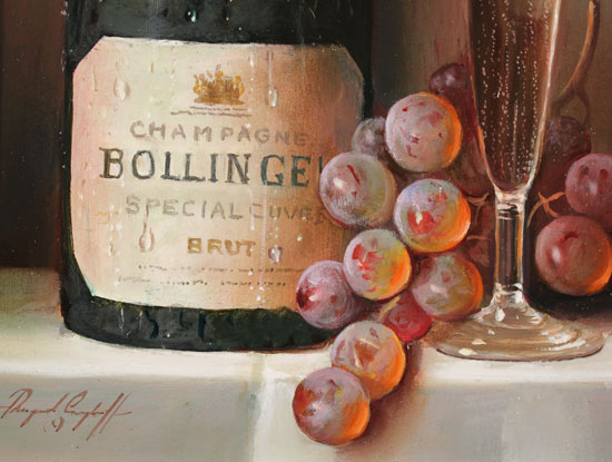 Raymond Campbell, Original oil painting on panel, Bollinger Bounty Signature image. Click to enlarge