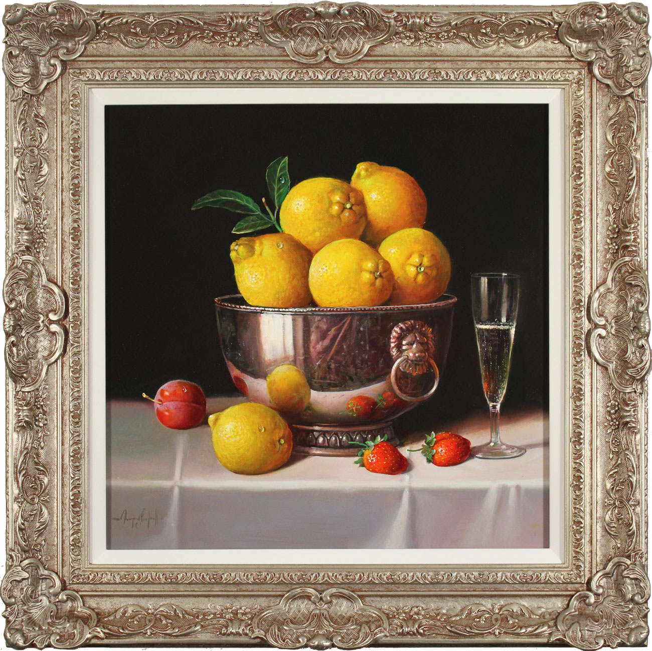 Raymond Campbell, Original oil painting on panel, Bowl of Lemons, click to enlarge