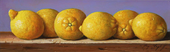 Raymond Campbell, Original oil painting on panel, Lemons No frame image. Click to enlarge