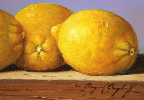 Raymond Campbell, Original oil painting on panel, Lemons Signature image. Click to enlarge