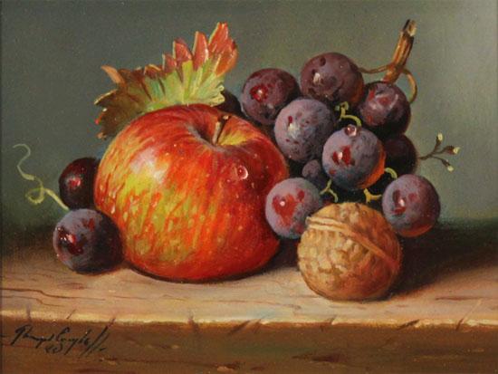 Raymond Campbell, Original oil painting on panel, Apple, Walnut and Grapes Without frame image. Click to enlarge
