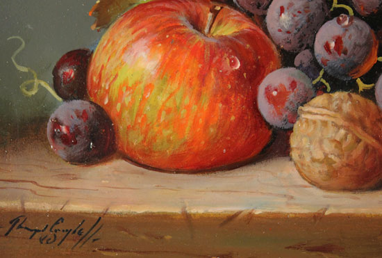 Raymond Campbell, Original oil painting on panel, Apple, Walnut and Grapes Signature image. Click to enlarge