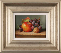 Raymond Campbell, Original oil painting on panel, Apple, Walnut and Grapes