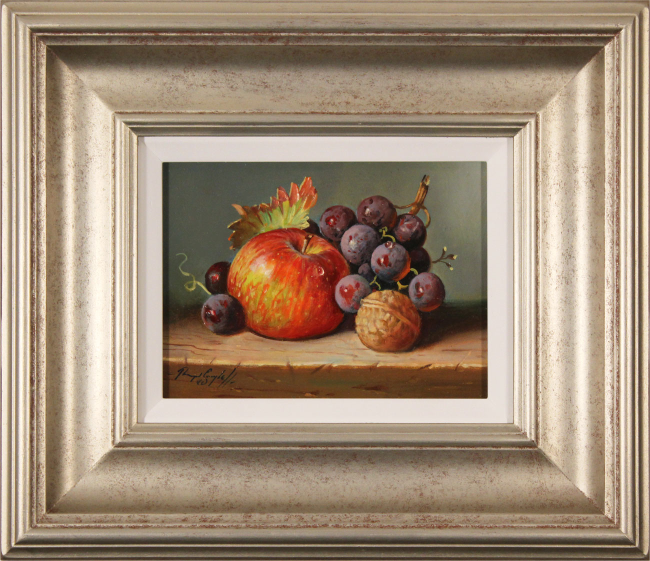 Raymond Campbell, Original oil painting on panel, Apple, Walnut and Grapes. Click to enlarge