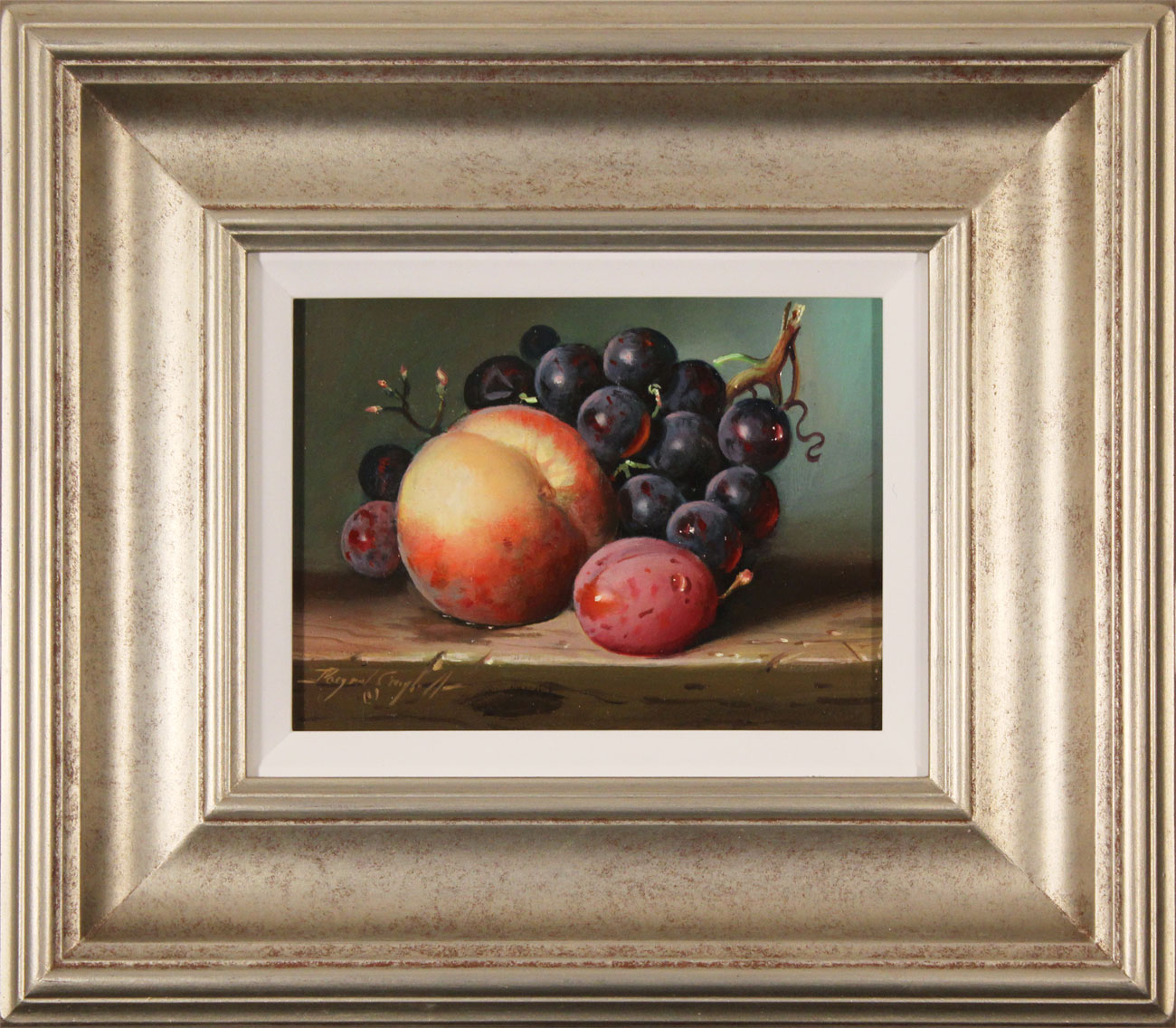 Raymond Campbell, Original oil painting on panel, Peach, Plum and Grapes, click to enlarge