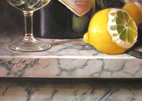 Raymond Campbell, Original oil painting on panel, Gin and Tonic Signature image. Click to enlarge