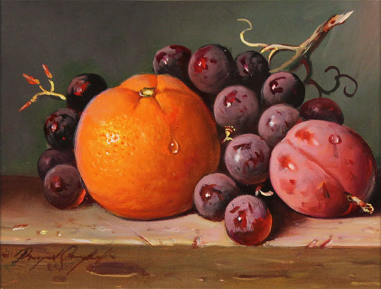 Raymond Campbell, Original oil painting on panel, Mixed Fruit Without frame image. Click to enlarge