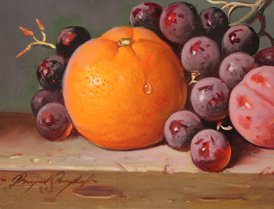 Raymond Campbell, Original oil painting on panel, Mixed Fruit Signature image. Click to enlarge