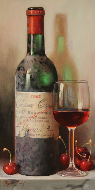 Raymond Campbell, Original oil painting on panel, Chateau Cissac, 1985 Without frame image. Click to enlarge