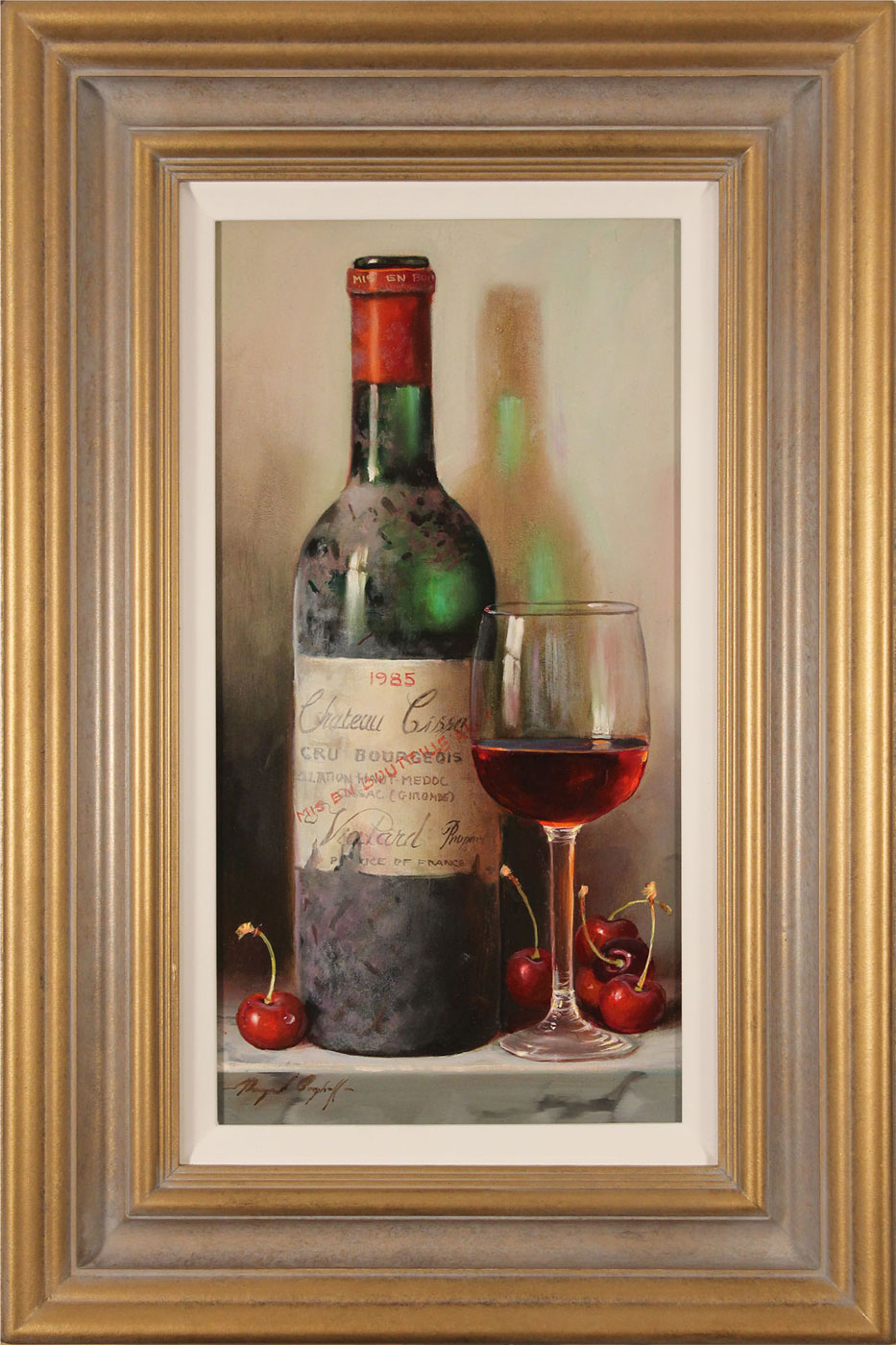 Raymond Campbell, Original oil painting on panel, Chateau Cissac, 1985. Click to enlarge