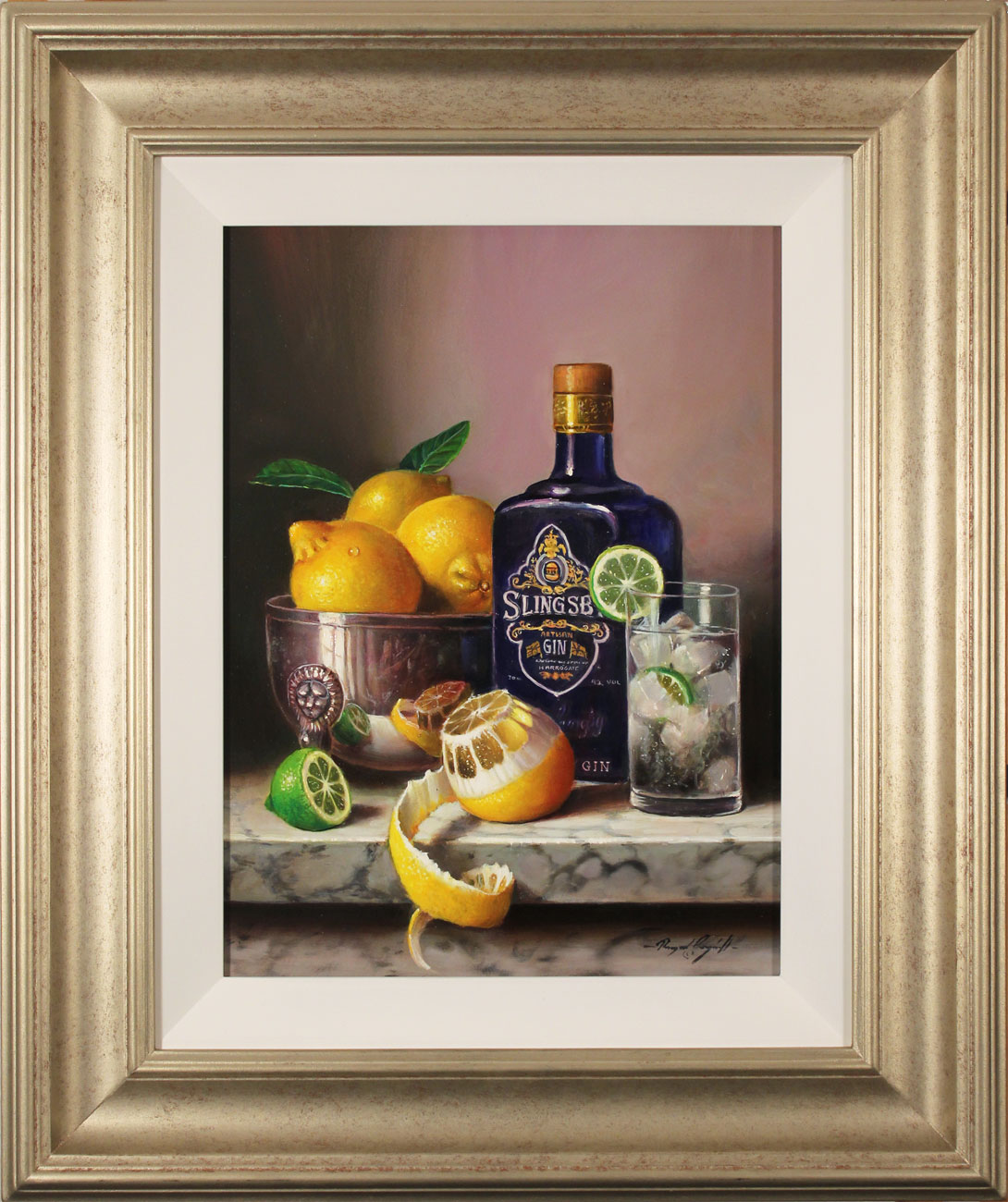 Raymond Campbell, Original oil painting on panel, Gin and Tonic, click to enlarge