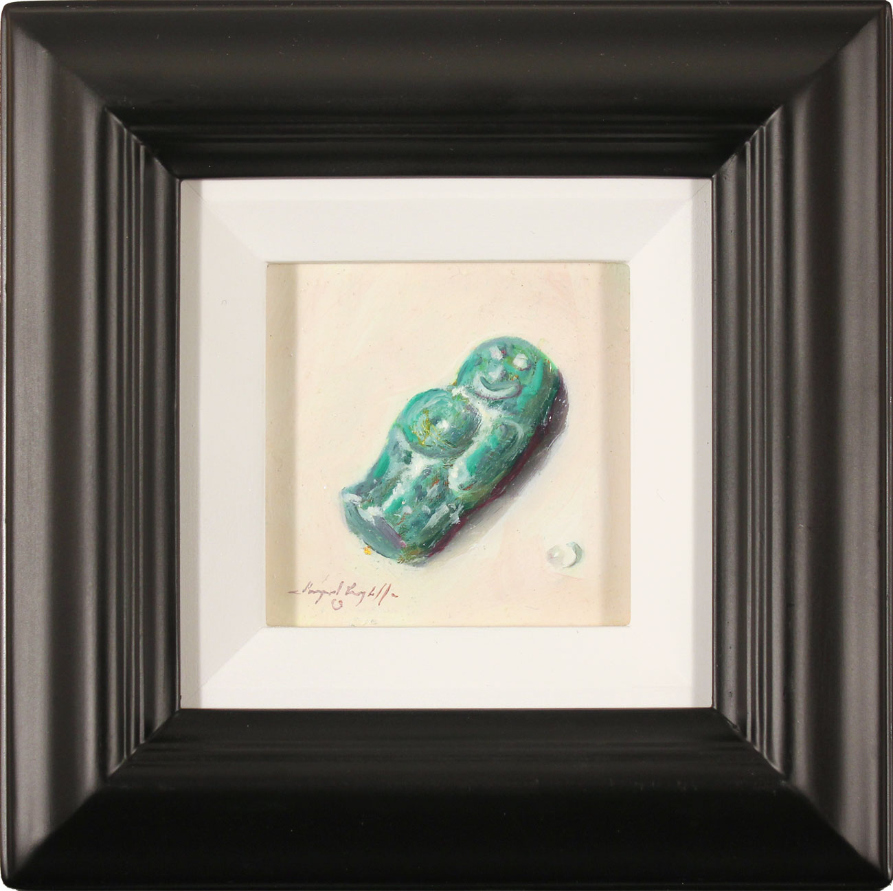 Raymond Campbell, Original oil painting on panel, Green Jelly Baby, click to enlarge