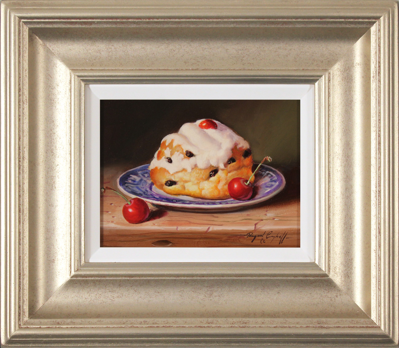 Raymond Campbell, Original oil painting on panel, Belgian Bun with Cherries , click to enlarge