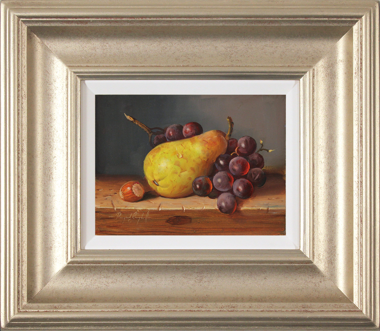 Raymond Campbell, Original oil painting on panel, Pear, Walnut and Grapes, click to enlarge