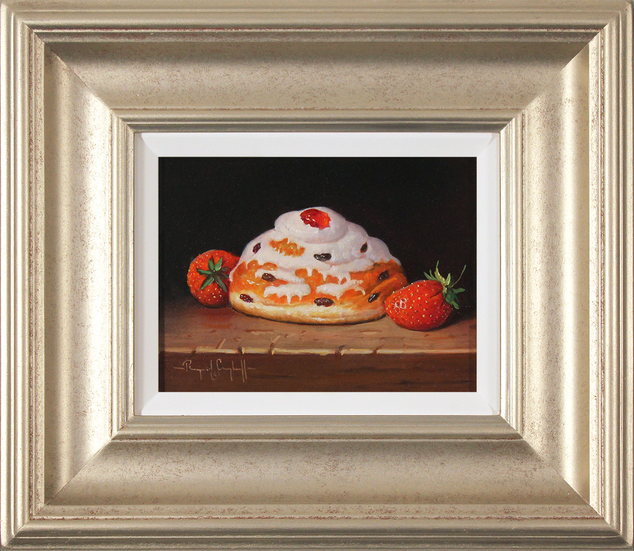 Raymond Campbell, Original oil painting on panel, Belgian Bun with Strawberries, click to enlarge