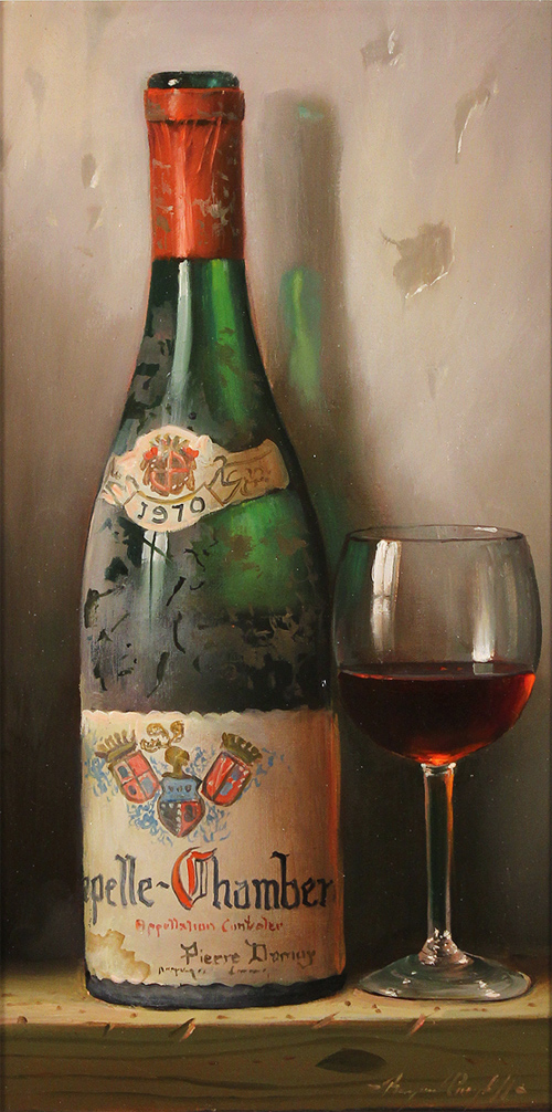 Raymond Campbell, Original oil painting on panel, Chapelle Chambertin, 1970