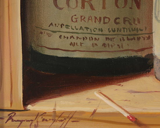 Raymond Campbell, Original oil painting on panel, Corton Grand Cru, 1989 Signature image. Click to enlarge