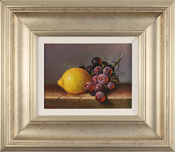 Raymond Campbell, Original oil painting on panel, Lemon and Grapes