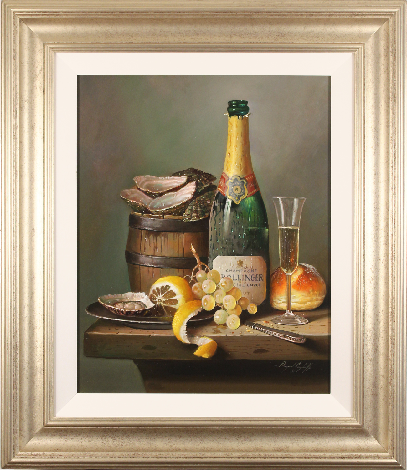 Raymond Campbell, Original oil painting on panel, Champagne Indulgence, click to enlarge