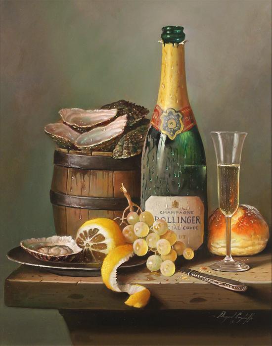 Raymond Campbell, Original oil painting on panel, Champagne Indulgence