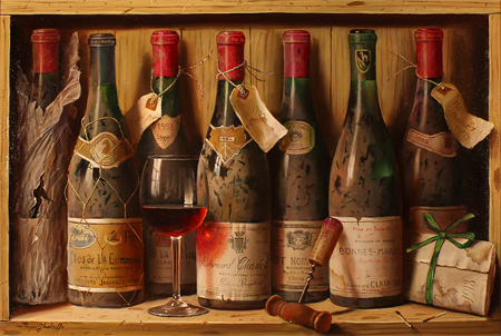 Raymond Campbell, Original oil painting on panel, Burgundies
