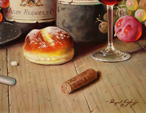 Raymond Campbell, Original oil painting on panel, Cellar Favourites Signature image. Click to enlarge