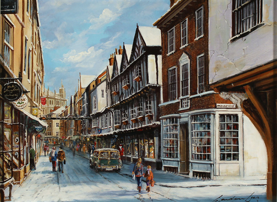 Gordon Lees, Original oil painting on panel, Stonegate, York No frame image. Click to enlarge