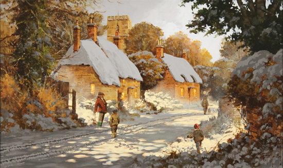 Richard Telford, Original oil painting on panel, Boxing Day Stroll No frame image. Click to enlarge