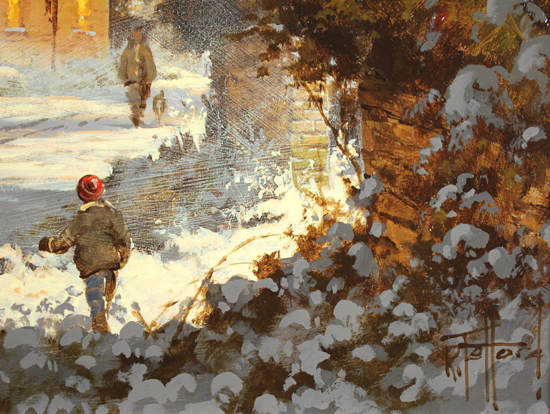 Richard Telford, Original oil painting on panel, Boxing Day Stroll Signature image. Click to enlarge