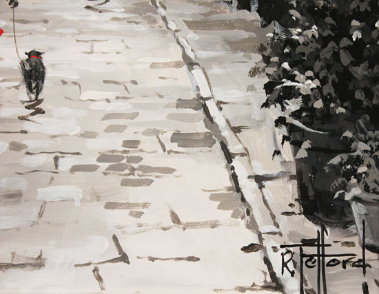 Richard Telford, Original oil painting on panel, Stroll Down the Cobbles