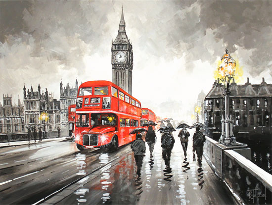 Richard Telford, Original oil painting on panel, Westminster Bridge, London Without frame image. Click to enlarge
