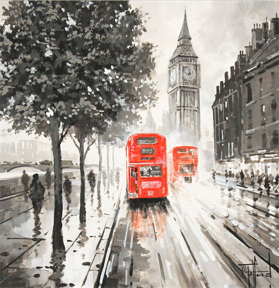 Richard Telford, Original oil painting on panel, London Calling Without frame image. Click to enlarge