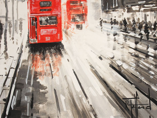 Richard Telford, Original oil painting on panel, London Calling Signature image. Click to enlarge