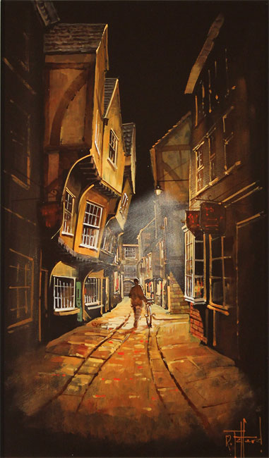 Richard Telford, Original oil painting on panel, Shadows of The Shambles, York No frame image. Click to enlarge