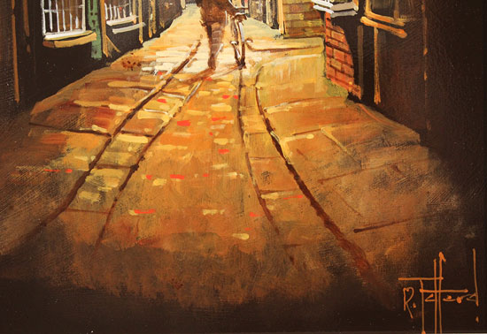 Richard Telford, Original oil painting on panel, Shadows of The Shambles, York Signature image. Click to enlarge